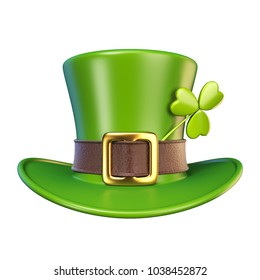 Green St. Patrick's Day hat with clover Front view 3D render illustration isolated on white background