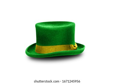 Green St. Patrick's Day hat isolated on white background. With clipping path