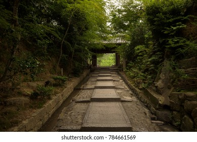 Green staircase leading up to the Kodaiji Temple, Kyoto, Japan