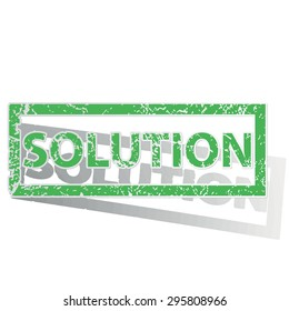 Green stamp with word SOLUTION and shadow, isolated on white