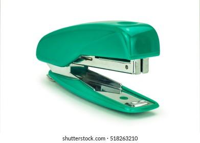 Green stapler isolated on white background