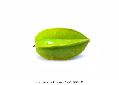 Green star apple isolated on white background with clipping path.Star apple,Carambola,Averrhoa carambola.Star apple helps strengthen bones and teeth.Star apple is a fruit with sweet and sour taste.