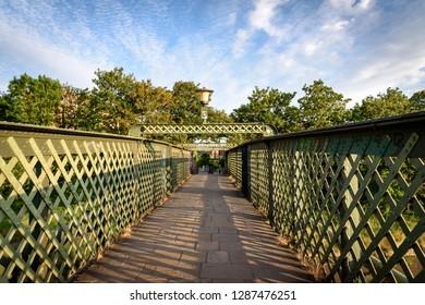 Green steel bridge in Bristol UK