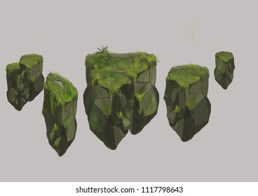 Green stones mountain