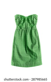 Green strapless dress isolated over white