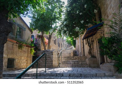 Green Street in the center of Jerusalem, Israel. Clean streets with stairs and railings