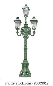 Green streetlamp on white background