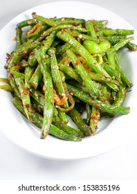 Green string beans chinese dish with spices