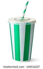 Green striped cardboard cup with a straw. Isolated on a white.