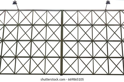green structure steel of billboard frame with spotlights for rent. isolated on white background