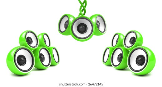 green stylish audio system over white