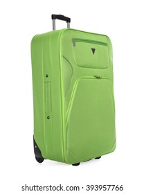 Green suitcase isolated on a white background.