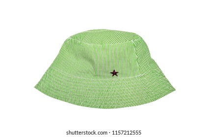 Green summer cotton Panama striped with star. Isolated on white.
