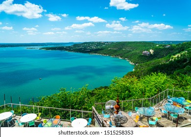 green summer landscape at the lake , Travis lake landscape lake relaxing overlook view of the central Texas hill country outside of Austin Texas USA