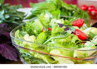 Green summer salad with cherry tomatos