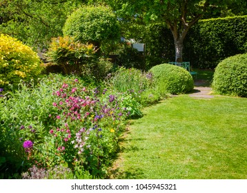 Green summer walled english formal garden with lawn blooming flowers and hedgerow in background, Southern England, UK