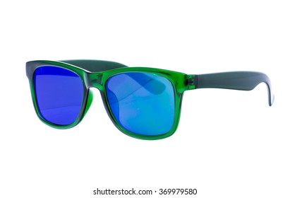 Green Sunglasses isolated over white background