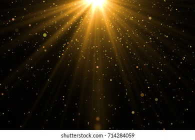 Green sunray with sparkles or particle glitter light. Merry Christmas festive background.defocused circle particle bokeh. Abstract  background