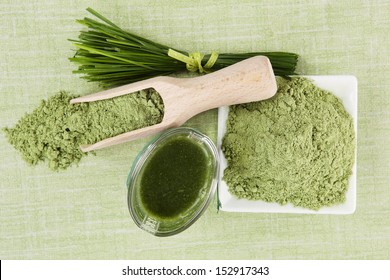 Green superfood background. Wheatgrass ground, barley grass blades and green juice on green background. Healthy eating and detox.
