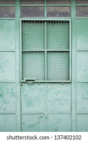 Green surface metal of different shades in industrial building construction