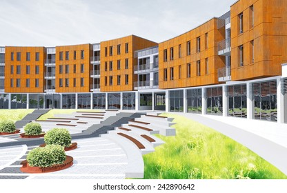 Green sustainable architecture render view
