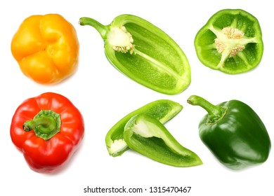 green sweet bell pepper with slices isolated on white background top view