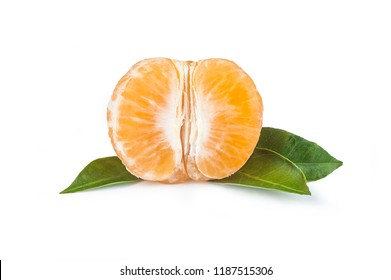 green sweet isolated mandarin clementine tangerine on white background with leaf