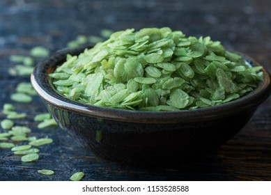 Green Sweet Rice Flakes in a bowl