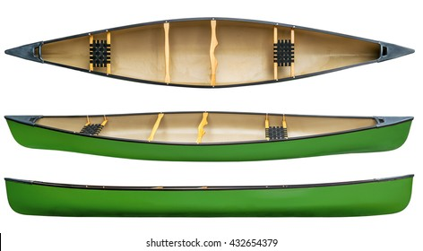 Green Tandem Canoe With Wood Seats Isolated On White