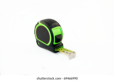 Green tape measure on a white background