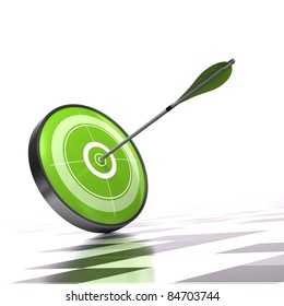 Green target and arrow over a checker background