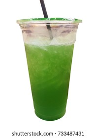 Green Tea and Apple Juice in take away cup on White background in Soft focus, isolated