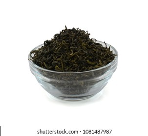 green tea in bowl isolated on white background