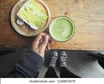 Green tea cake and drink
