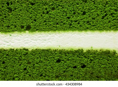 Green tea cake with white center filling texture