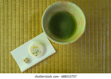 green tea ceremony with cake