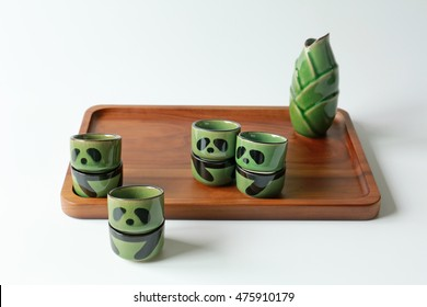 green tea cup sets like panda and salver