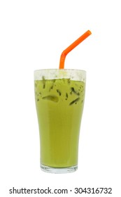 Green tea famous drink, isolated on white background, Clipping path