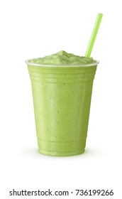 Green Tea Frappe: Blended Drink (Made With Japanese Matcha Powder, Ice, Sugar, and Regular or Non-Dairy Milk) in a Plastic Cup on White Background