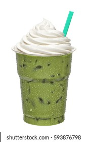 Green tea frappucino in takeaway cup isolated on white background