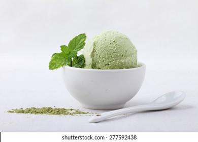 green tea ice cream in white remekin