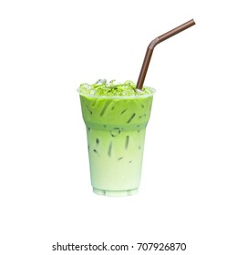 Green tea ice isolated on white background with clipping path