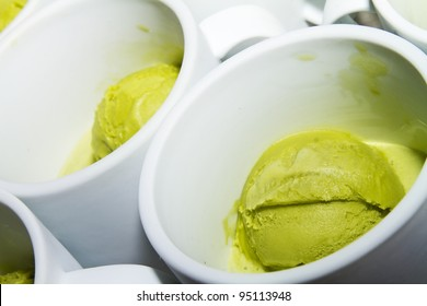 Green Tea Ice Green in White Cup