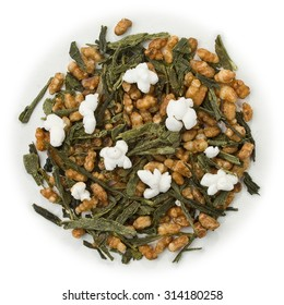 Green tea Japanese Genmaicha blend isolated on pure white