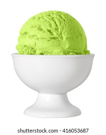 Green tea or kiwi fruit ice cream scoop in bowl isolated on white background including clipping path