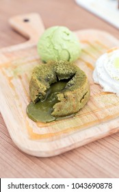 green tea lava cake with ice cream and green tea sauce