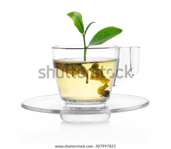 green tea leaf on green tea isolated white background