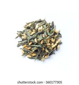 Green tea leaves , Japanese tea , Genmaicha, green tea mixed with roasted brown rice