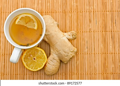 green tea with lemon and ginger