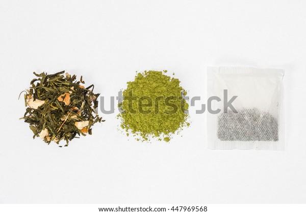 green tea, matcha tea and tea bag